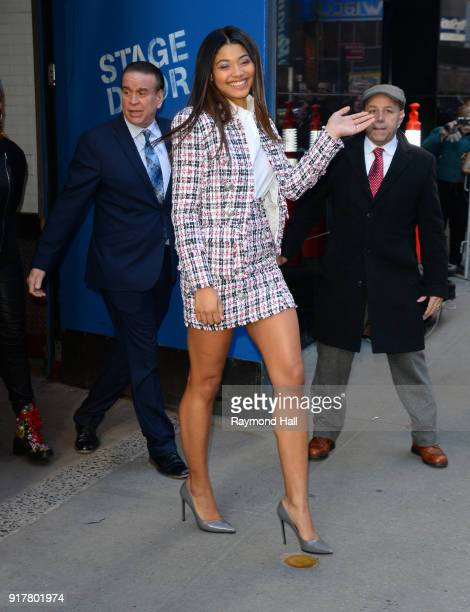 Model Danielle Herrington is seen leaving Good Morning America on February 13 2018 in New York City