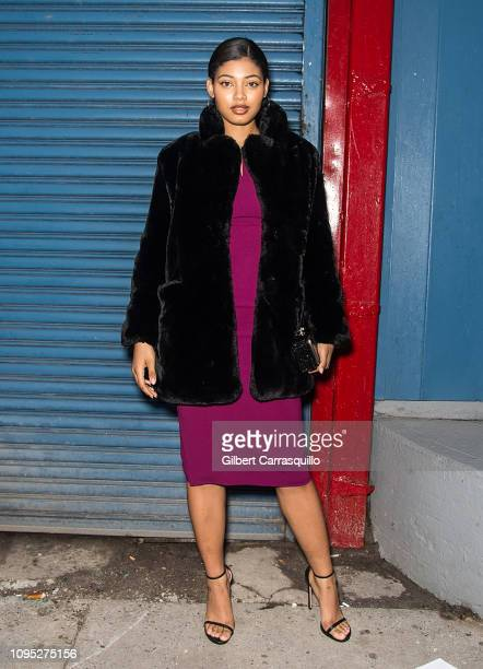 Model Danielle Herrington is seen leaving the Pamella Roland fashion show during New York Fashion Week at Pier 59 on February 7 2019 in New York City