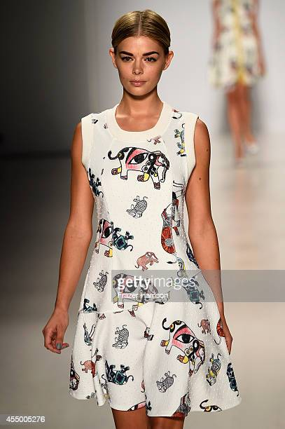 Model Danielle Knudson walks the runway at the Oudifu fashion show during MercedesBenz Fashion Week Spring 2015 at The Salon at Lincoln Center on...
