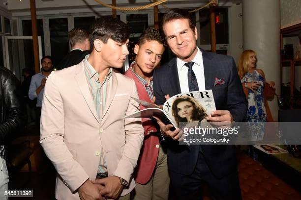 Model Dante Saverio Amato Jan Luis Castellanos and Actor Vincent De Paul attend the fashion week celebration with DuJour Magazine hosted by Cindy...