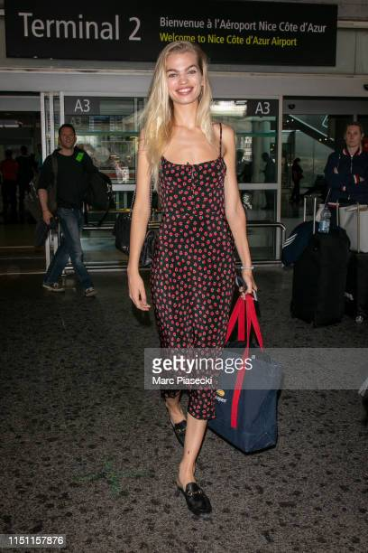 Model Daphne Groeneveld arrives ahead the 72nd annual Cannes Film Festival at Nice Airport on May 23 2019 in Nice France