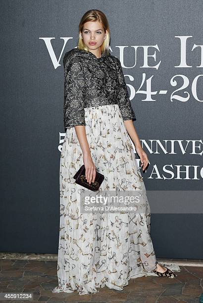 Model Daphne Groeneveld attends Vogue Italia 50th Anniversary Event on September 21 2014 in Milan Italy