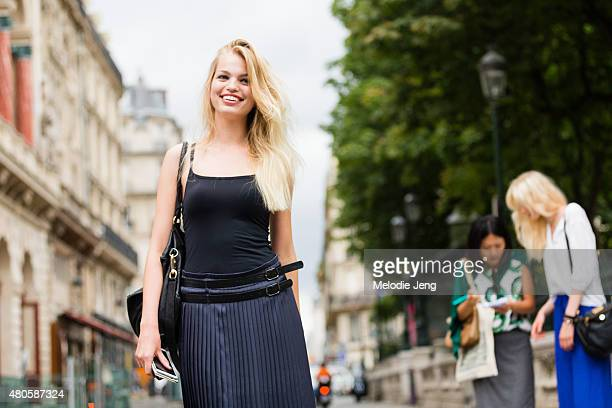 Model Daphne Groeneveld exits the Jean Paul Gaultier show on July 8 2015 in Paris France