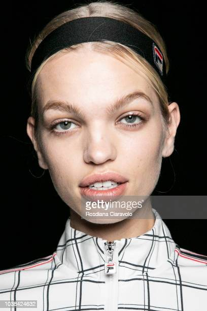 Model Daphne Groeneveld, hair detail, is seen backstage ahead of the Fila show during Milan Fashion Week Spring/Summer 2019 on September 23, 2018 in...