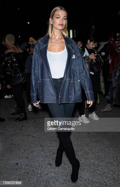 Model Daphne Groeneveld is seen arriving to the Palm Angels Fashion Show during New York Fashion Week on February 09 2020 in New York City