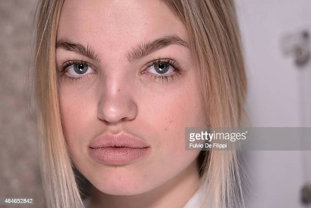 Model Daphne Groeneveld is seen backstage ahead of the Philosophy Di Lorenzo Serafini show during the Milan Fashion Week Autumn/Winter 2015 on...