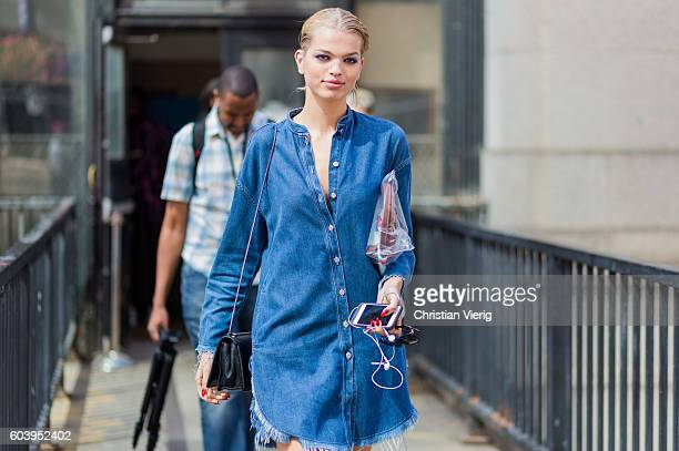 Model Daphne Groeneveld outside Jeremy Scott on September 12 2016 in New York City