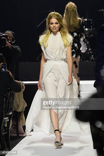 Model Daphne Groeneveld walks during the fashion show runway during amfAR's 22nd Cinema Against AIDS Gala Presented By Bold Films And Harry Winston...