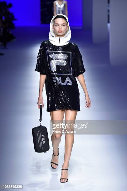 Model Daphne Groeneveld walks the runway at the Fila show during Milan Fashion Week Spring/Summer 2019 on September 23 2018 in Milan Italy
