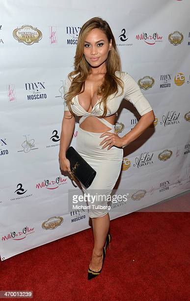 Model Daphne Joy attends the season premiere party of the reality show 'Basketball Wives LA' at Allure Studios on February 17 2014 in Los Angeles...