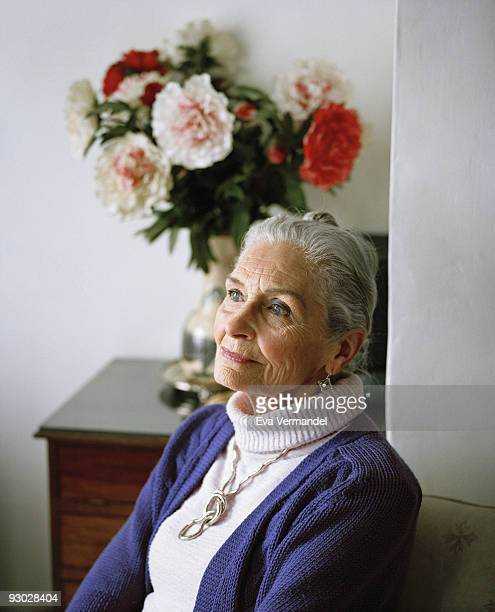 Model Daphne Selfe poses for a portrait shoot in London on February 5 2009
