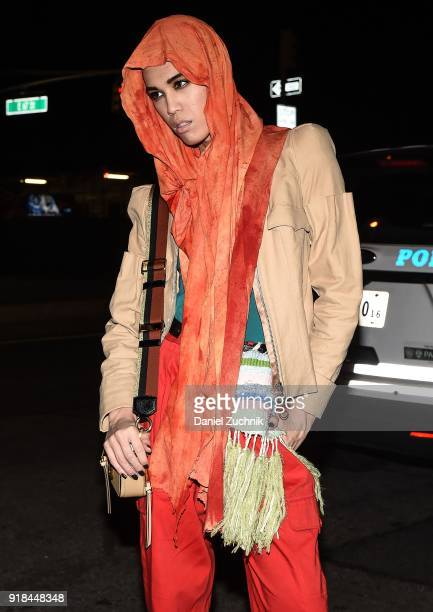 Model Dara Allen is seen wearing a brown jacket and orange pants outside the Marc Jacobs show during New York Fashion Week Women's A/W 2018 on...