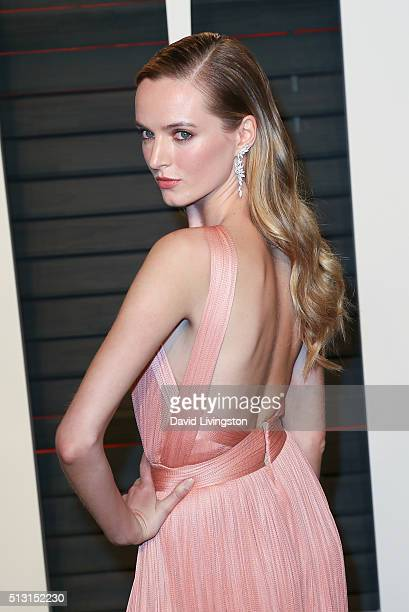 Model Daria Strokous arrives at the 2016 Vanity Fair Oscar Party Hosted by Graydon Carter at the Wallis Annenberg Center for the Performing Arts on...