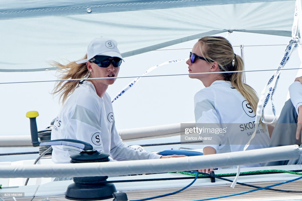 Model Daria Strokous (R) is seen on board of Skorpios during the 36th Copa Del Rey Mafre Sailing Cup on August 1, 2017 in Palma de Mallorca, Spain.