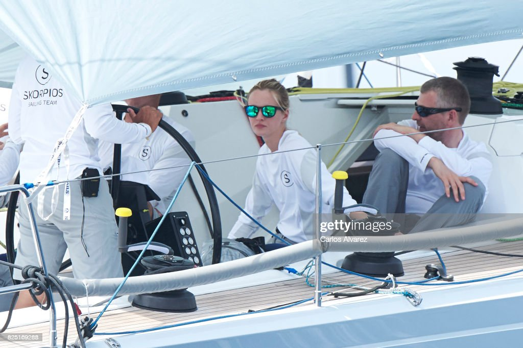Model Daria Strokous (C) is seen on board of Skorpios during the 36th Copa Del Rey Mafre Sailing Cup on August 1, 2017 in Palma de Mallorca, Spain.