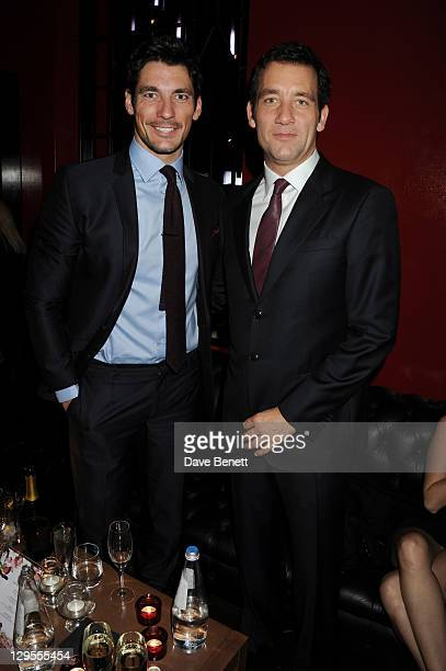 Model David Gandy and actor Clive Owen attend the Vertu Global Launch Of The 'Constellation' at Palazzo Serbelloni on October 18, 2011 in Milan,...
