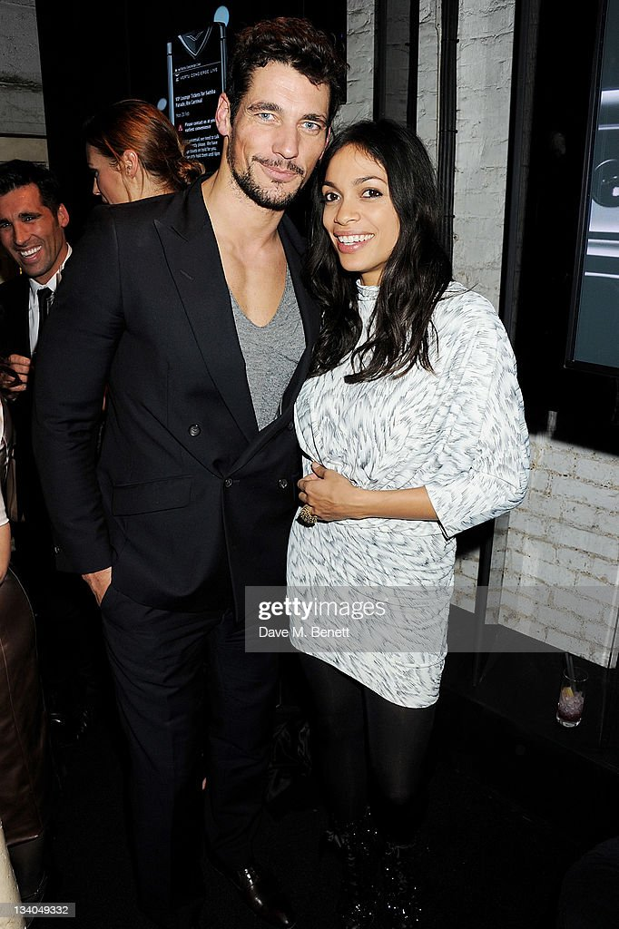 Model David Gandy (L) and actress Rosario Dawson attends the launch of the Vertu Constellation, the luxury mobile phone maker's first touchscreen handset, at the Farmiloe Building on November 24, 2011 in London, England.