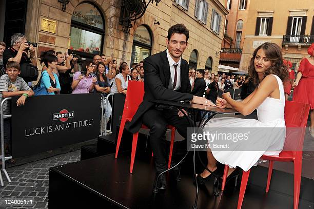 Model David Gandy choses Silvia Pedetti to join MARTINI to celebrate the global launch campaign LUCK IS AN ATTITUDE at Piazza Mignanelli on September...
