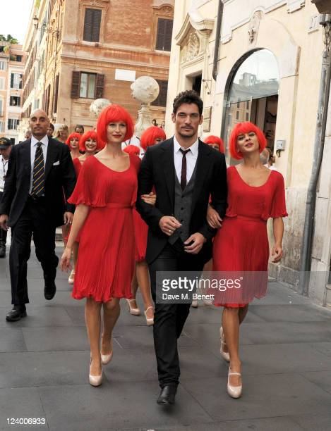 """Model David Gandy joins MARTINI to celebrate the global launch campaign """"LUCK IS AN ATTITUDE"""" on the Spanish Steps on September 7, 2011 in Rome,..."""