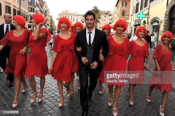 "Model David Gandy joins MARTINI to celebrate the global launch campaign ""LUCK IS AN ATTITUDE"" on the Spanish Steps on September 7, 2011 in Rome,..."