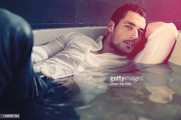 Model David Gandy poses for August Man on July 1 2012 in New York City PUBLISHED IMAGE