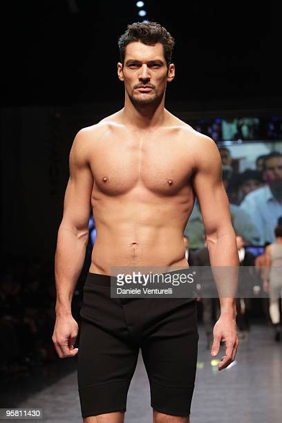 Model David Gandy walks the runway during the Dolce & Gabbana Milan Menswear Autumn/Winter 2010 show on January 16, 2010 in Milan, Italy.