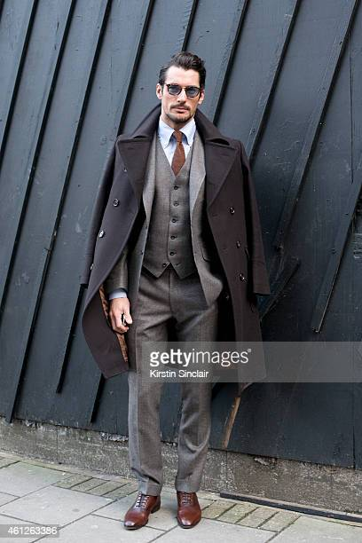 Model David Gandy wearing Marks and Spencer on day 1 of London Collections Men on January 09 2015 in London England