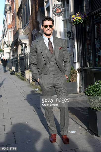 Model David Gandy wears a Chester Barrie suit Birline Watches watch Garrett Leight sunglasses and Suitsupply tie on day 3 of London Collections Men...