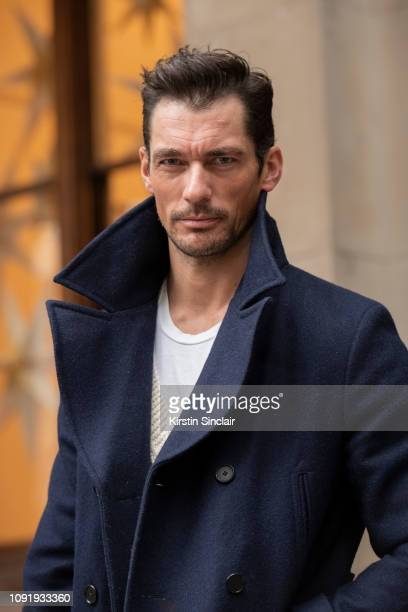 Model David Gandy wears a David Gandy for Marks and Spencers coat during London Fashion Week Men's January 2019 on January 07, 2019 in London,...