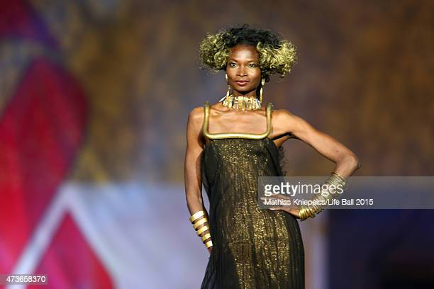 Model Debra Shaw walks the runway during the Life Ball 2015 show at City Hall on May 16 2015 in Vienna Austria