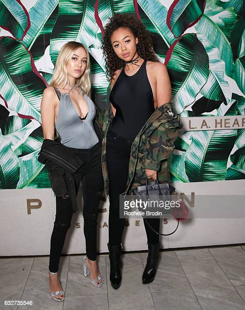 Model Delilah Belle Hamlin and model Bella Harris attend LA Hearts PacSun celebrate 2017 Spring Swimwear Collection at Delilah on January 25 2017 in...