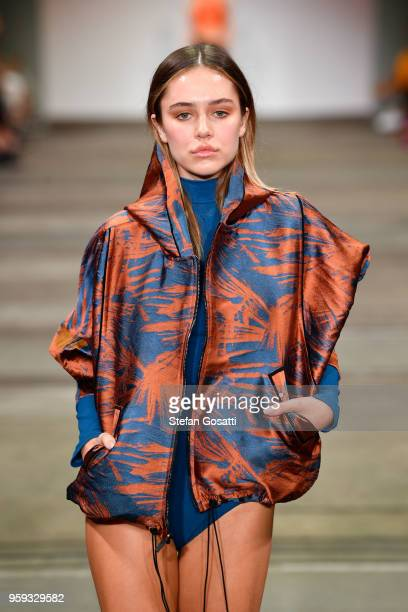 Model Delilah Belle Hamlin walks the runway in a design by Koral during the Active show at MercedesBenz Fashion Week Resort 19 Collections at...