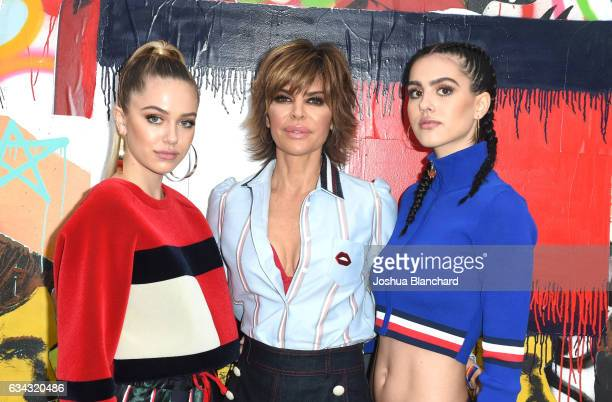 Model Delilah Hamlin actress Lisa Rinna and Amelia Hamlin attend the TommyLand Tommy Hilfiger Spring 2017 Fashion Show on February 8 2017 in Venice...