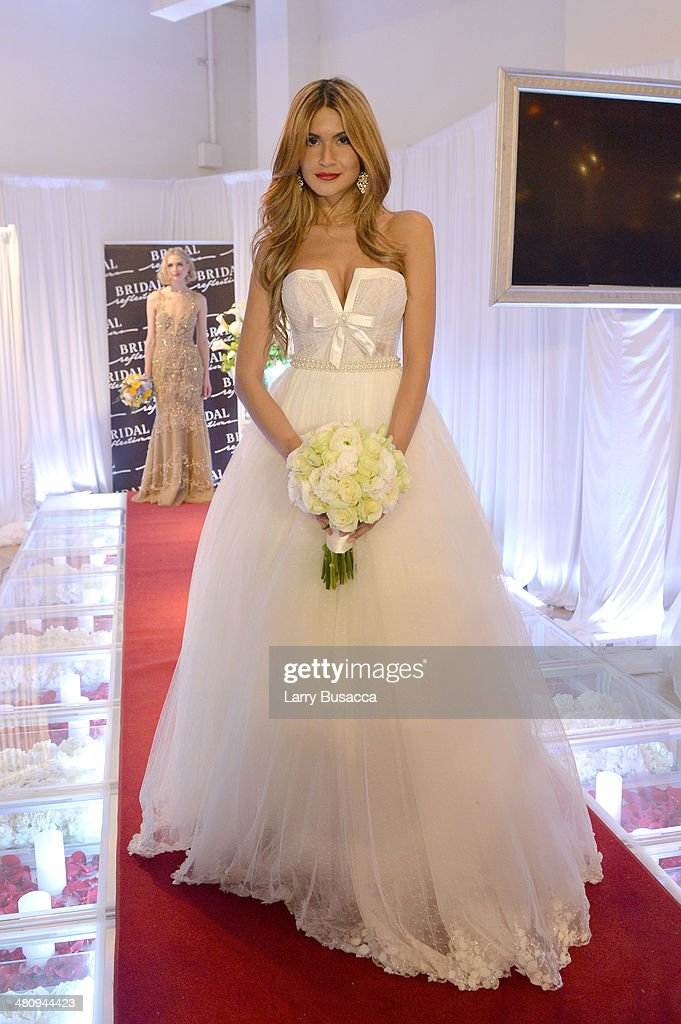 A Model Demonstrates Wedding Dress During The New York Magazine S Weddings Event At