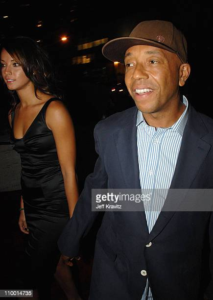 Model Denise Vasi and music mogul Russell Simmons arrive at VH1's Save The Music 10th Anniversary Gala at The Tent at Lincoln Center on September 20...