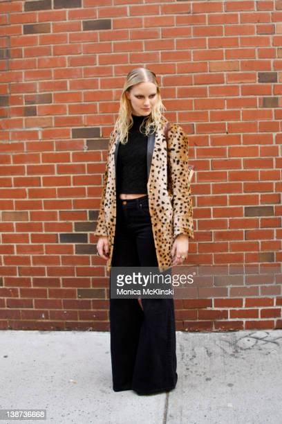 A model departs the Cushnie et Ochs Showing at Milk Studios during Fall 2012 Fashion Week on the streets of Manhattan on February 10 2012 in New York...