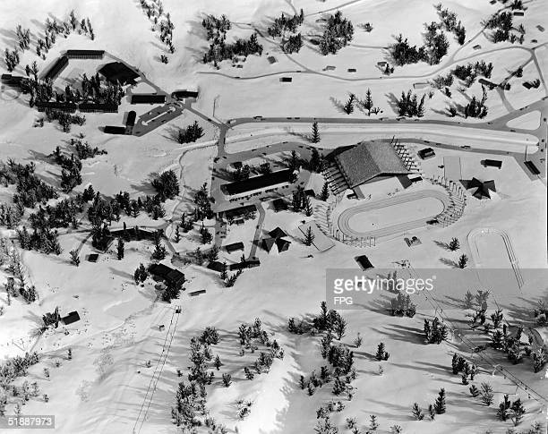 Model depicts the layout of several buildings including the speedskating oval in the Squaw Valley Winter Olympics complex December 1 1959 The Squaw...