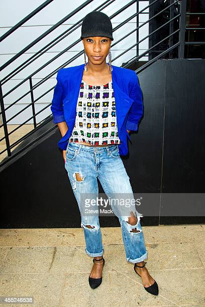 Model Deryka Bowe is seen around Lincoln Center wearing self made top HM jacket Charlotte Russe jeans and Zara footwear on September 10 2014 in New...