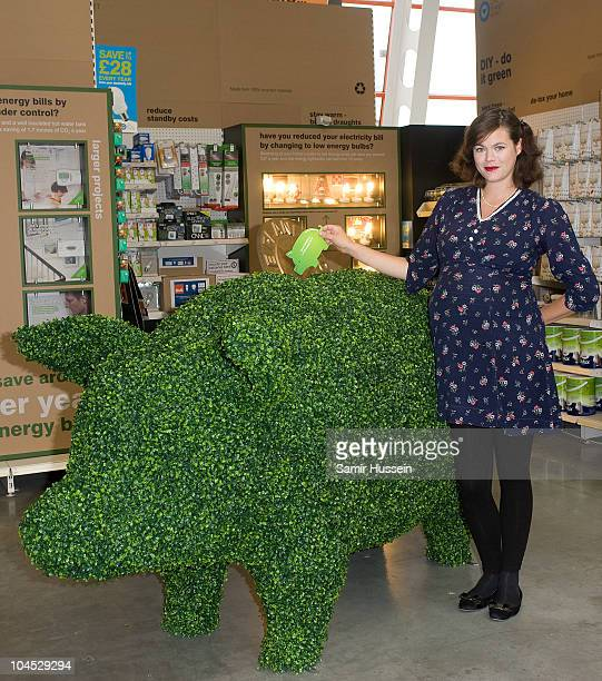 Model designer and Mumtobe Jasmine Guinness posts her petition into the BQ Green Piggy Bank to support the campaign to cut the VAT on green goods at...