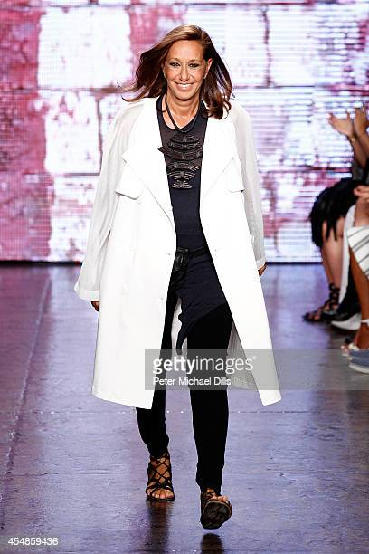 A model Designer Donna Karan walks the runway at the DKNY Women's fashion show during MercedesBenz Fashion Week Spring 2015 on September 7 2014 in...
