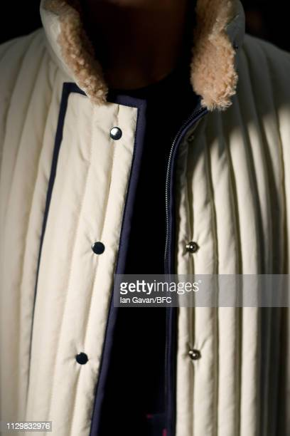 A model detail at the Gayeon Lee Presentation during London Fashion Week February 2019 on February 15 2019 in London England