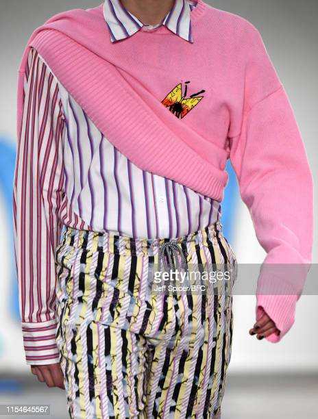 Model, detail, at the Liam Hodges show during London Fashion Week Men's June 2019 at the BFC Show Space on June 08, 2019 in London, England.