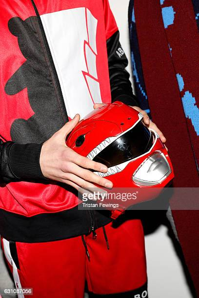 A model detail backstage ahead of the Bobby Abley show during London Fashion Week Men's January 2017 collections at BFC Show Space on January 6 2017...