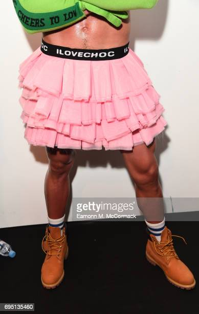 A model detail backstage ahead of the Bobby Abley show during the London Fashion Week Men's June 2017 collections on June 12 2017 in London England