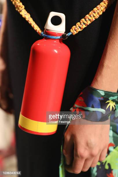 Model, detail is seen backstage ahead of the Tiziano Guardini show during Milan Fashion Week Spring/Summer 2019 on September 20, 2018 in Milan, Italy.