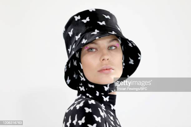 A model detail poses at the Agne Kuzmickaite AW20 presentation during London Fashion Week February 2020 at Victoria House on February 14 2020 in...
