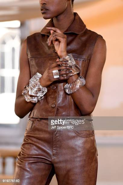 A model detail poses at the Dorateymur Presentation during London Fashion Week February 2018 at Somerset House on February 17 2018 in London England