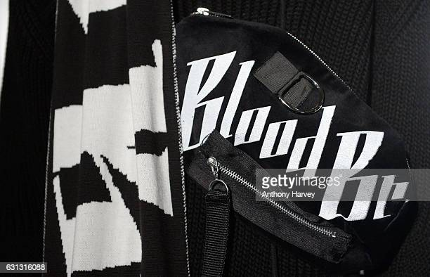 A model detail showcases designs during the Blood Brother presentation during London Fashion Week Men's January 2017 collections at BFC Presentation...
