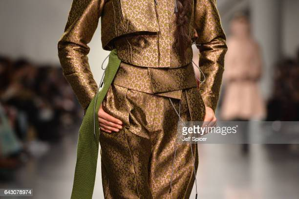 A model detail walks the Antonio Berardi show during the London Fashion Week February 2017 collections on February 20 2017 in London England