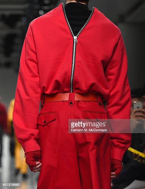 Model, detail, walks the runway at John Lawrence Sullivan during London Fashion Week Men's January 2017 collections at BFC Show Space on January 9,...